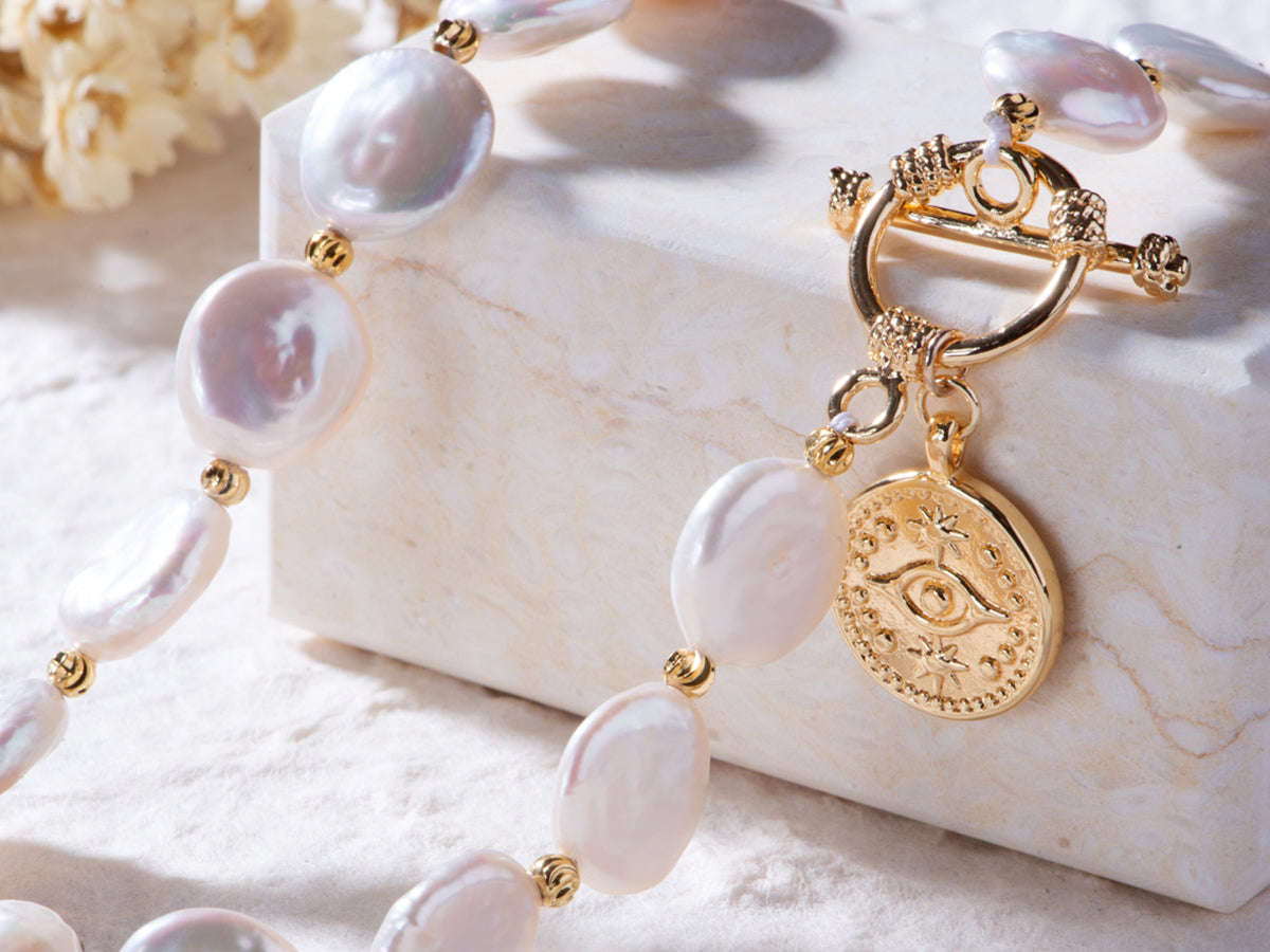 Jade Moon Co's Eye of Providence Baroque Pearl Necklace