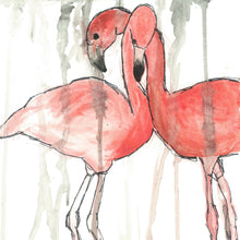 Load image into Gallery viewer, Flamingo Lovers - Art Print