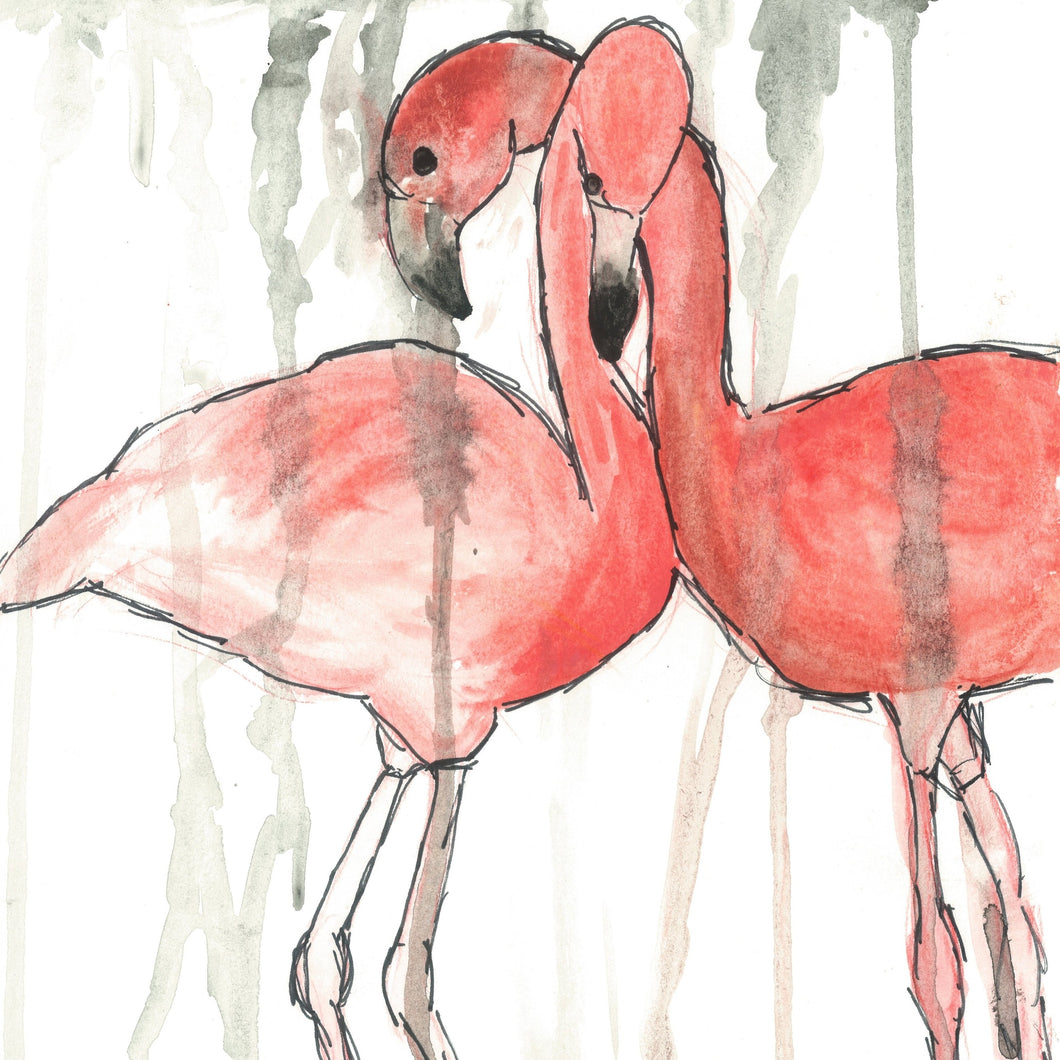 Flamingo Lovers - Art Print