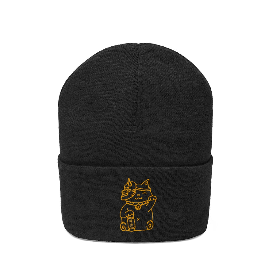 """Maneki-neko"" Embroidered Cuffed Beanie (No Pom Pom)"