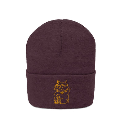 """Maneki-neko"" Embroidered Cuffed Beanie (No Pom Pom) - Seasup Clothing"