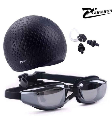 Silicone Waterproof Swimming Hat With Earplug Set And Myopia Goggles Diving Glasses MenBathingSuit.com