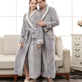 Thick Flannel Robe Women And Men Bathrobe Lengthen Coral Fleece Robe MenBathingSuit.com
