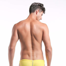 Natural Color Splicing Swimsuit Brief for Men