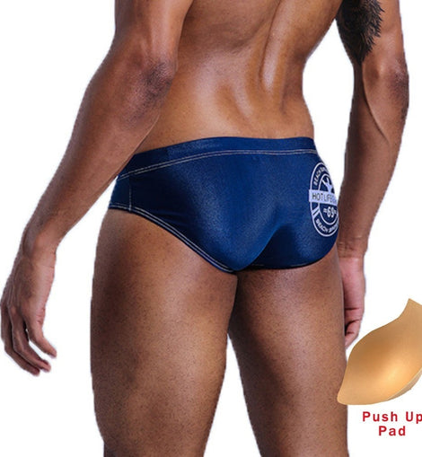 Low Waist Swim Briefs with Push Up Pad Swim Beach Shorts MenBathingSuit.com