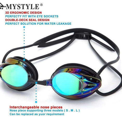 Adjustable Electroplating Waterproof Anti-fog UV Swimming Pool Goggles for Men MenBathingSuit.com