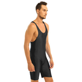 Tight Swimming Bodysuit One-piece Sleeveless Solid Modified Wrestling Singlet Boxer Briefs