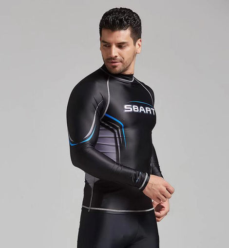 UV Swimming Rashguard Long-Sleeved T-Shirt Swimwear MenBathingSuit.com