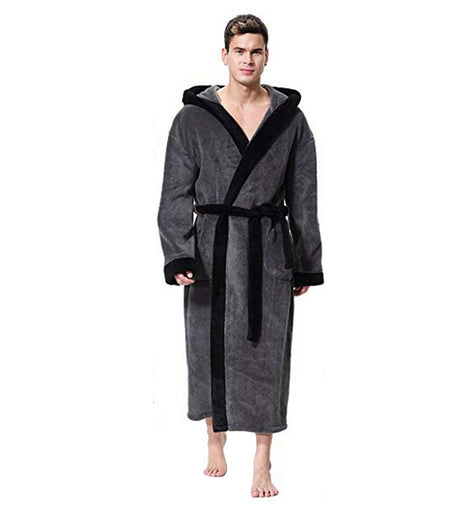 Long Sleeve Hooded Bathrobe Sleepwear  Plush  Winter MenBathingSuit.com