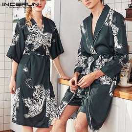 Men Bathrobe Dressing Gown Homewear  Long Sleeve Sleepwear