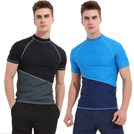 Men Surf  Short SleeveTops Swim Shirts UPF 50+ Diving Tights Rash Guard Swimwears  MenBathingSiut.com