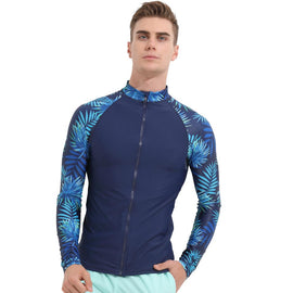 Blue Black UV Sun Protection Long Sleeve Rashguard T-Shirt Swimsuit MenBathingSuit.com