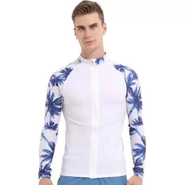 Blue Black UV Sun Protection Long Sleeve Rashguard T-Shirt Swimsuit