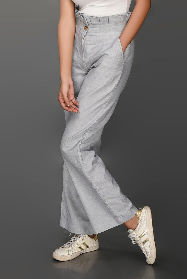 Cotton Wide Leg Trouser - [Ecoloom]