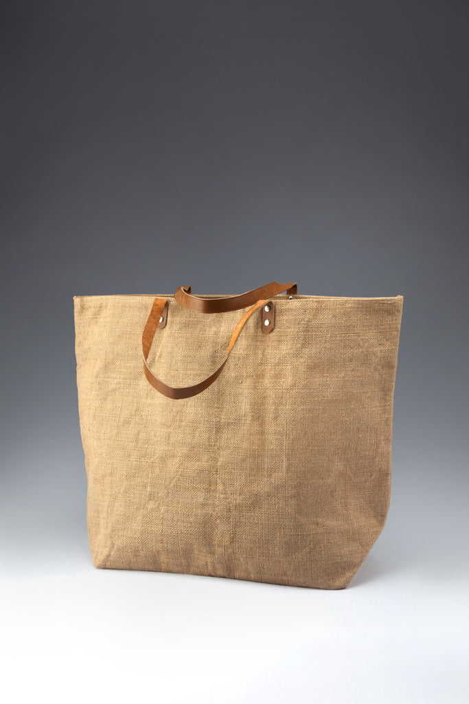Jute Shopping Bag - Leather Handle (Bulk Only) - [Ecoloom]