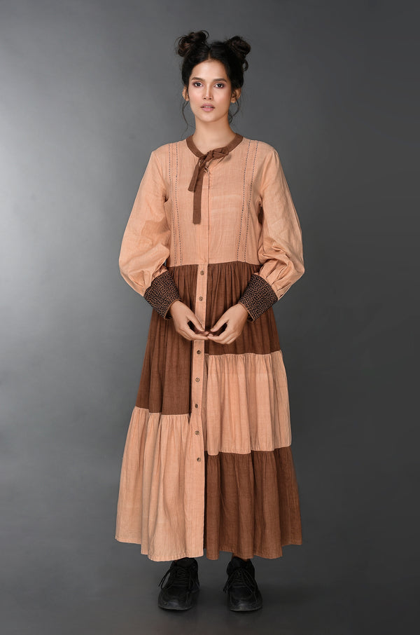 Earthy Cotton Katha Gown - [Ecoloom]