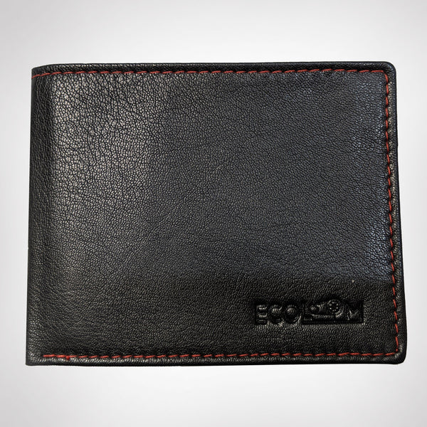 Black and Cherry Trifold Wallet - EcoLoom