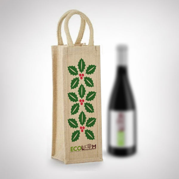 Jute Sleek Bottle Holder Bag - EcoLoom