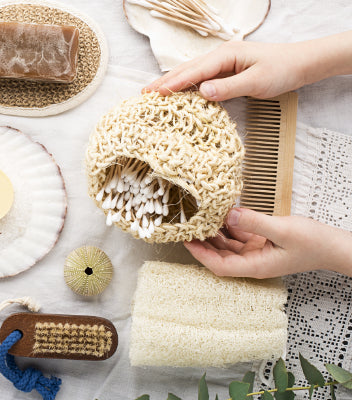 Natural beauty and eco-friendly items on a table