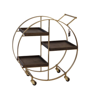 "METAL 30"" 3 SHELF BAR CART, GOLD - KD"