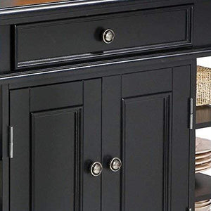 Black Kitchen Island with Open Shelving