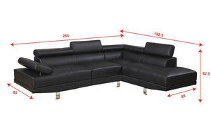 Poundex Sectional Sofa, Black