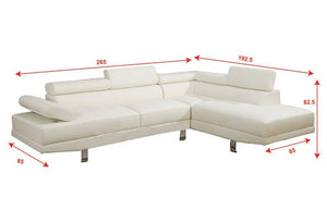 Today $729.99 2 Pieces Faux Leather Sectional Right Chaise Sofa, White