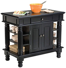 Load image into Gallery viewer, Black Kitchen Island with Open Shelving