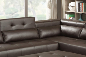 Poundex Bobkona Jolie Bonded Leather 2Piece SECTIONAL in Espresso