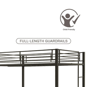 Full Over Full Metal Bunk Bed, Sturdy Frame with Metal Slats, Black