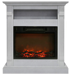 Fireplace Mantel with Electronic Fireplace Insert, White