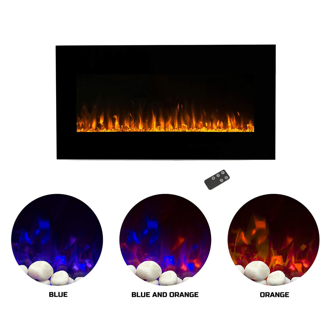 Electric Fireplace Wall Mounted LED Fire and Ice Flame, with Remote, 42