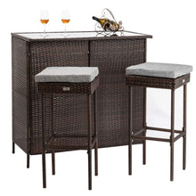 Load image into Gallery viewer, 3pcs Outdoor Wicker Bar Set with Stools