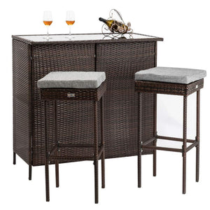 3pcs Outdoor Wicker Bar Set with Stools