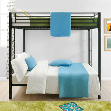 Load image into Gallery viewer, Full Over Full Metal Bunk Bed, Sturdy Frame with Metal Slats, Black