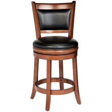 Load image into Gallery viewer, $249.99 Buy 1 get 1 Free Wooden Swivel Bar Stool with Faux-Leather Upholstery Cherry