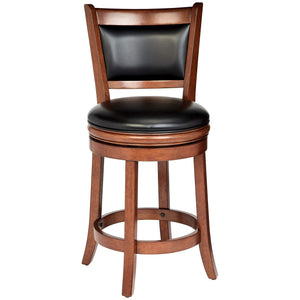 $249.99 Buy 1 get 1 Free Wooden Swivel Bar Stool with Faux-Leather Upholstery Cherry