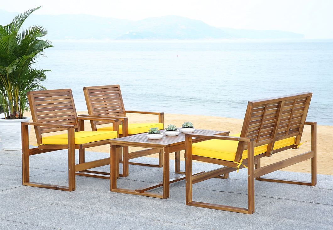 Outdoor Living 4-Piece Acacia Patio Furniture Set, Brown and Yellow