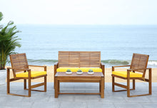 Load image into Gallery viewer, Outdoor Living 4-Piece Acacia Patio Furniture Set, Brown and Yellow