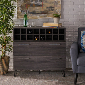 Mid Century Sonoma Grey Oak Finished Faux Wood Wine and Bar Cabinet