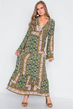 Load image into Gallery viewer, Multi Olive V-neck Long Sleeve Maxi Boho Dress