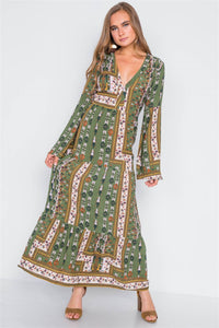 Multi Olive V-neck Long Sleeve Maxi Boho Dress