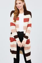Load image into Gallery viewer, Long Sleeve W/two Pocket Color Block Sweater Cardigan