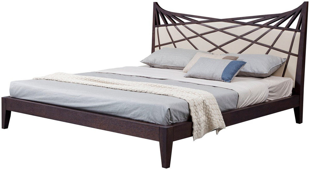 Modrest Prism Modern Brown & Beige Bonded Leather King Bed