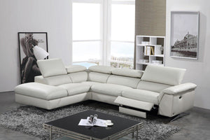 Divani Casa Maine Modern Light Grey Eco-Leather Sectional Sofa w/ Recliner
