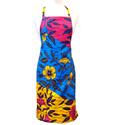 Tamu Apron - Pink Blue and Yellow Leaves
