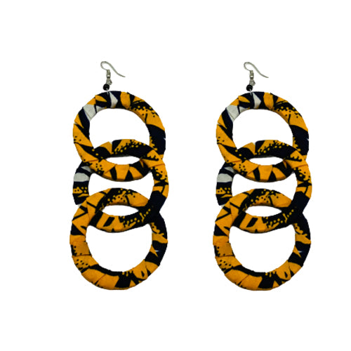 Fabric Three Ring Earrings
