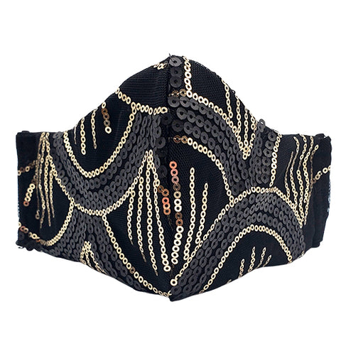Pambo Face Mask (Gold Sequins on Black Lace)