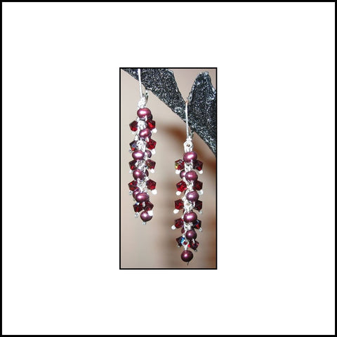 Cranberry Cluster Drop Earrings