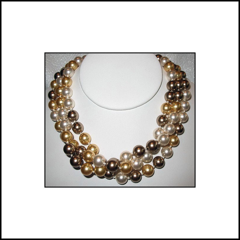 Hand-Knotted Pearl Wrap Necklace - Gold